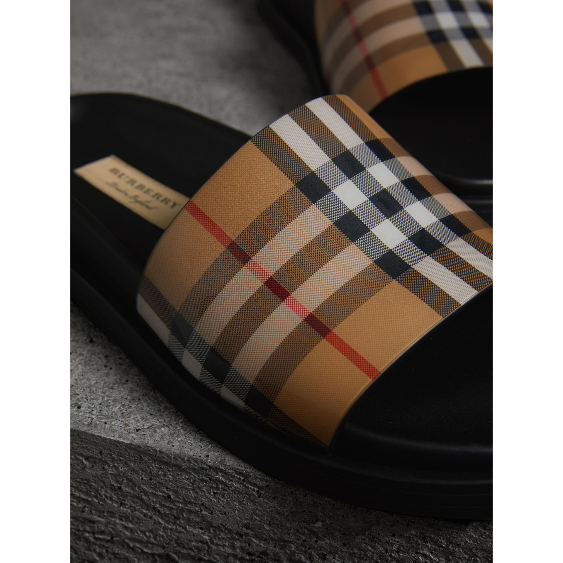 Vintage Check and Leather Slides in Antique Yellow - Women | Burberry - gallery image 1