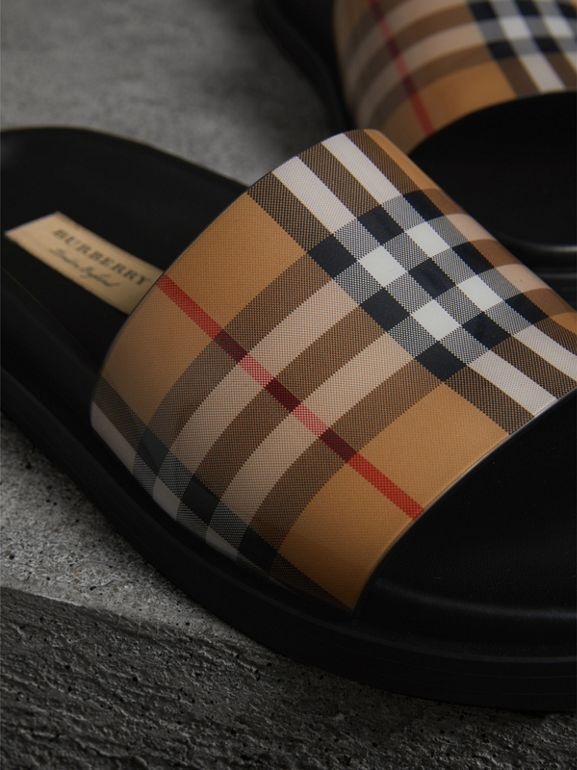 Vintage Check and Leather Slides in Antique Yellow - Women | Burberry Singapore - cell image 1