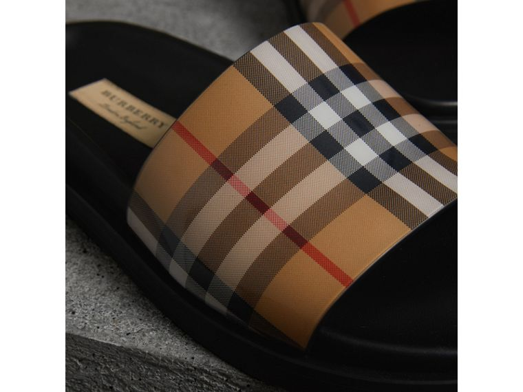 Vintage Check and Leather Slides in Antique Yellow - Women | Burberry - cell image 1