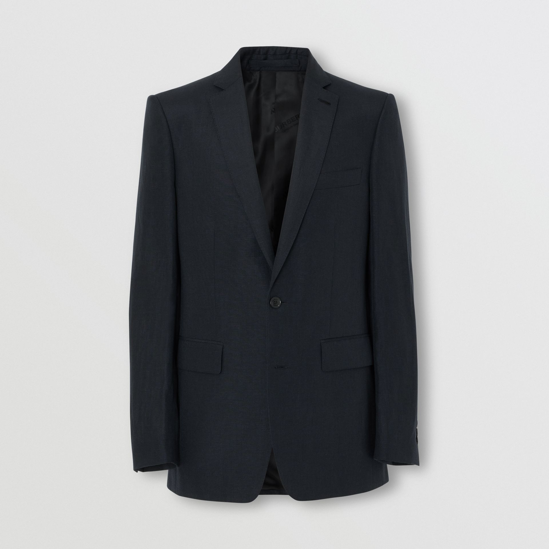 Classic Fit Mohair Linen Silk Tailored Jacket in Navy - Men | Burberry - gallery image 3