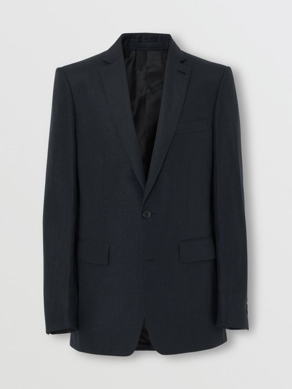 Classic Fit Mohair Linen Silk Tailored Jacket in Navy - Men | Burberry - cell image 3
