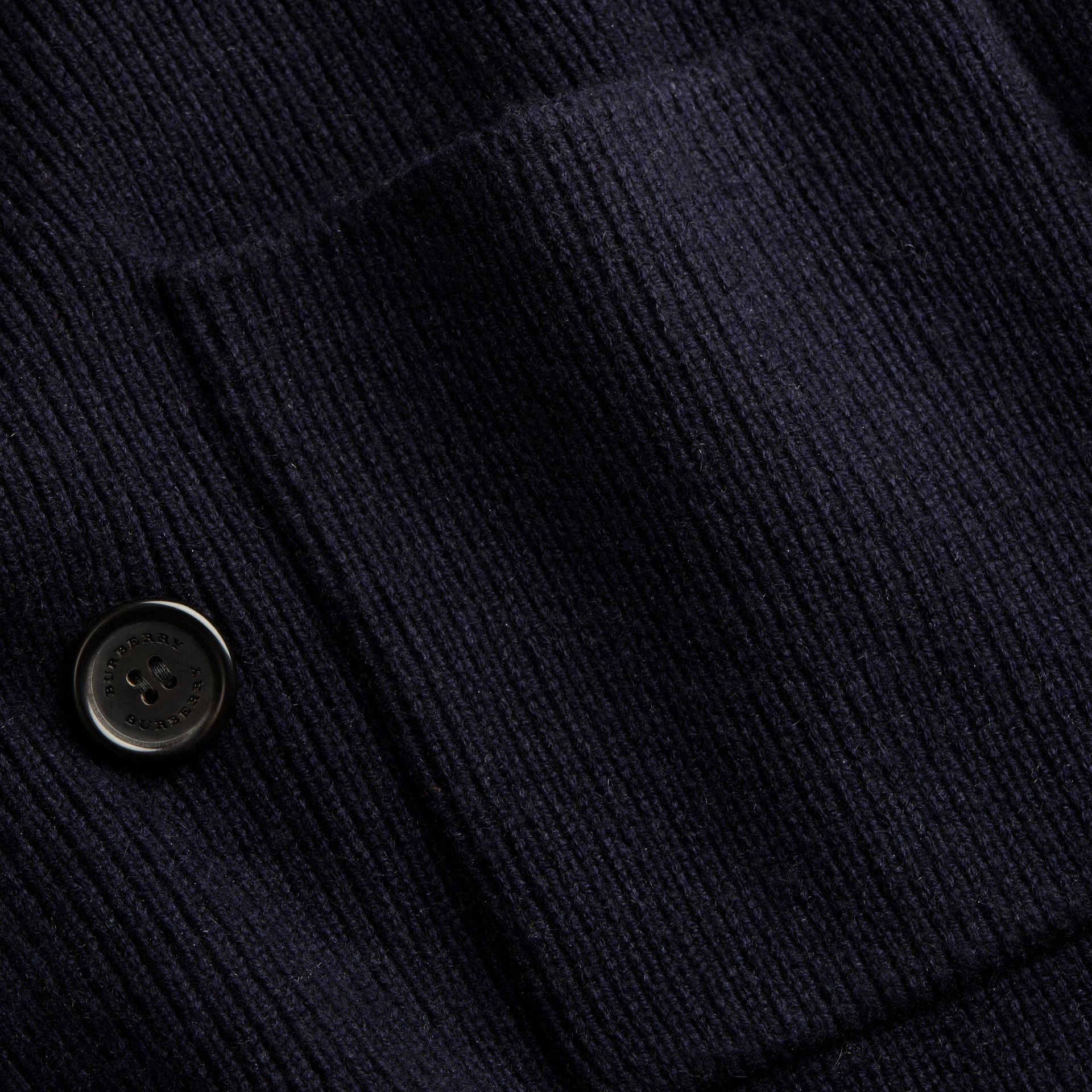 Navy Double-breasted Ribbed Wool Cashmere Cardigan - gallery image 2