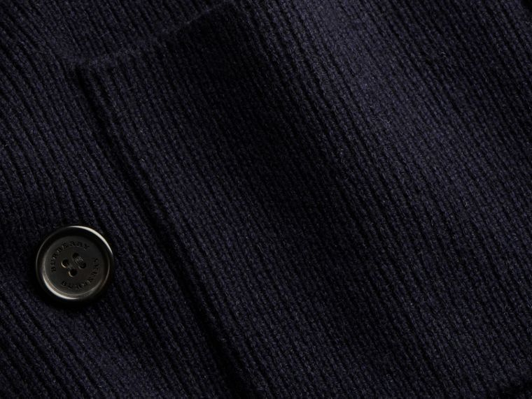 Navy Double-breasted Ribbed Wool Cashmere Cardigan - cell image 1