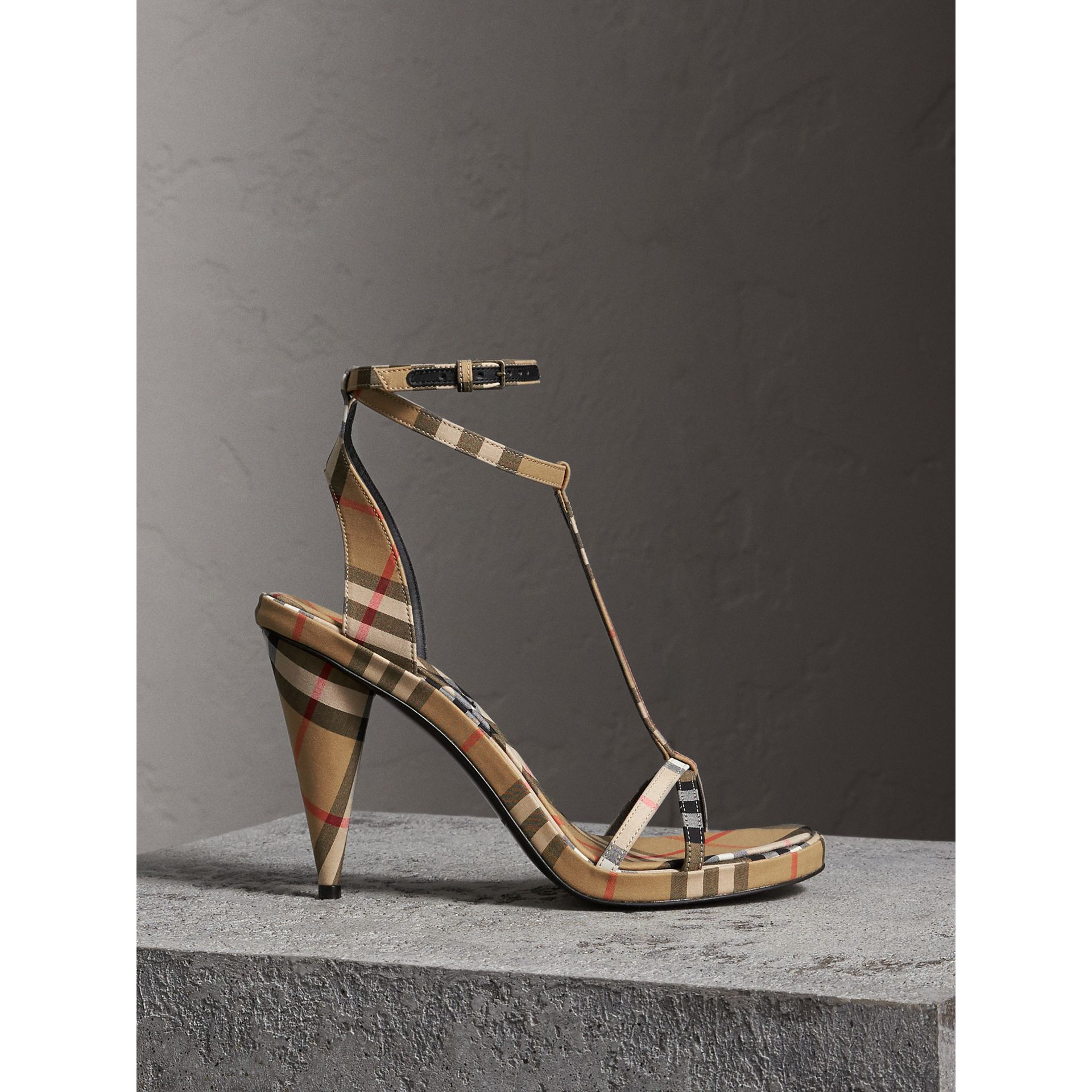 Vintage Check Cotton High-heel Sandals in Antique Yellow - Women | Burberry - gallery image 0
