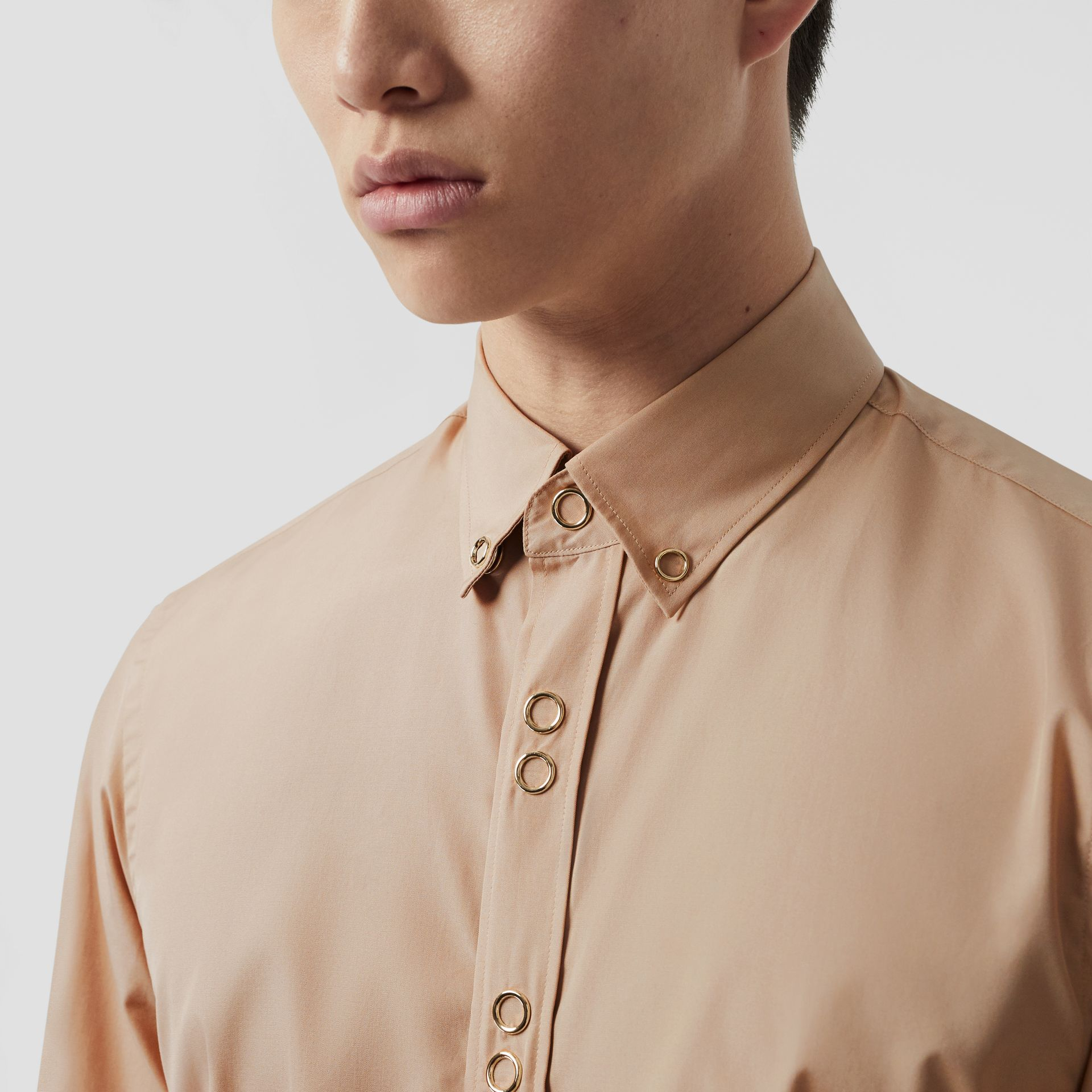 Classic Fit Double Press-stud Cotton Shirt in Soft Fawn - Men | Burberry - gallery image 1