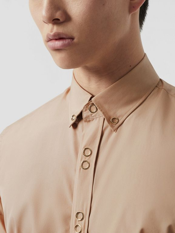 Classic Fit Double Press-stud Cotton Shirt in Soft Fawn - Men | Burberry - cell image 1