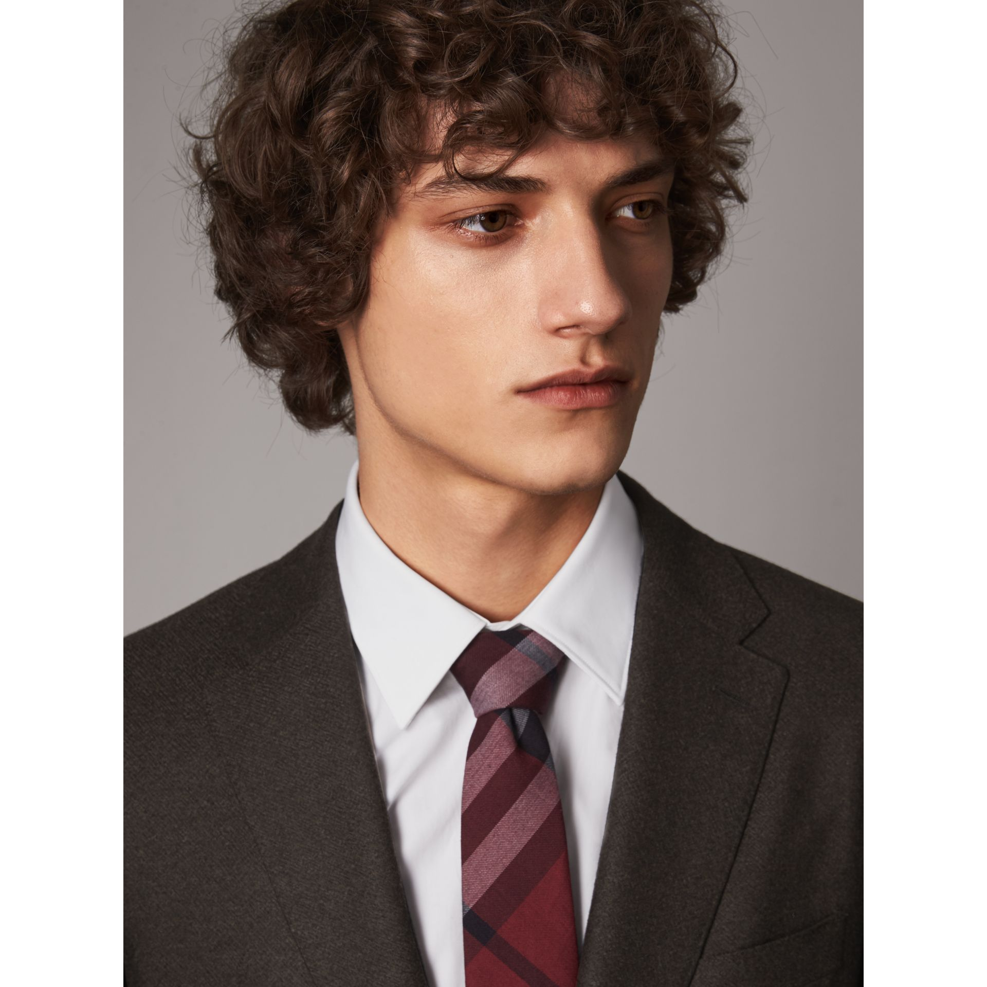 Modern Cut Check Cotton Cashmere Tie in Crimson Red - Men | Burberry Canada - gallery image 3