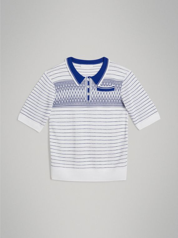 Stripe and Diamond Stitch Knitted Polo Shirt in White