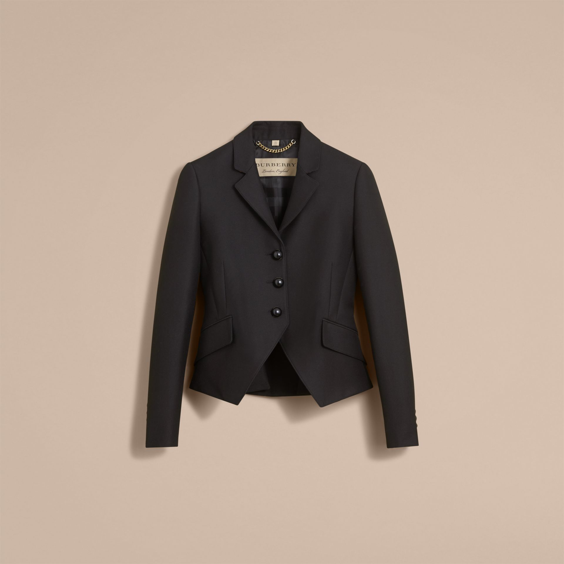 Wool Cotton Blend Twill Tailored Jacket in Black - Women | Burberry - gallery image 4