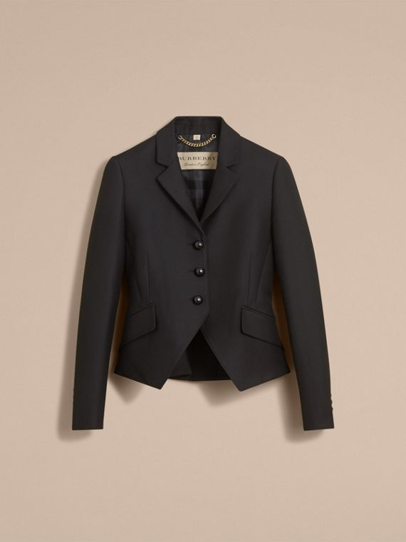 Wool Cotton Blend Twill Tailored Jacket in Black - Women | Burberry - cell image 3