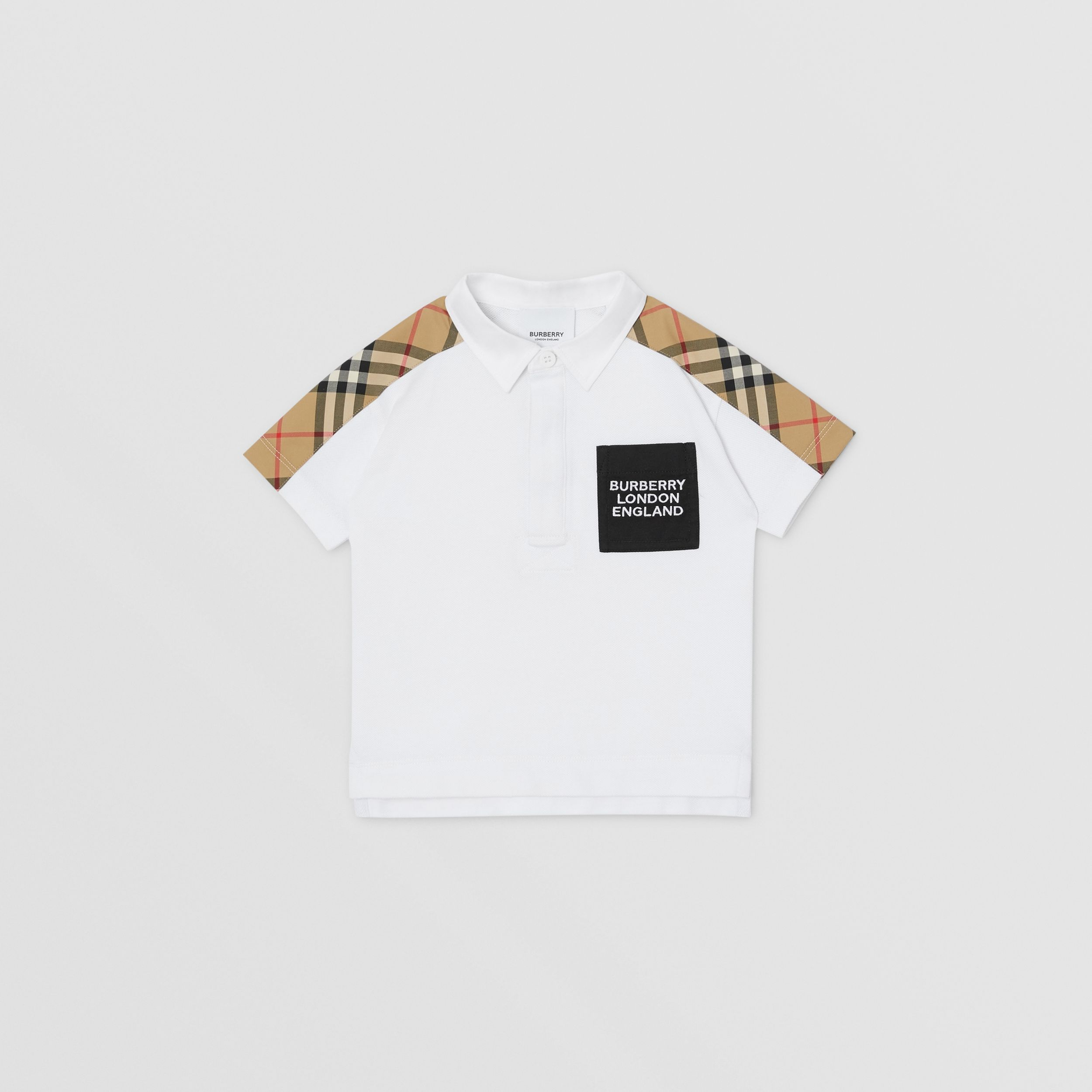 Vintage Check Panel Cotton Piqué Polo Shirt in White - Children | Burberry - 1