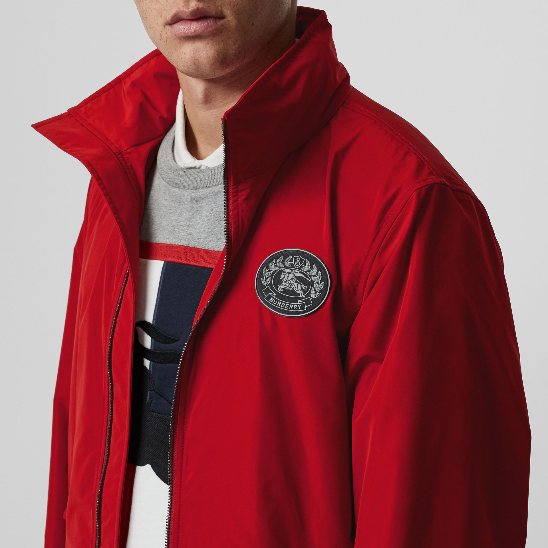 Packaway Hood Shape-memory Taffeta Jacket in Military Red - Men | Burberry Canada - gallery image 1
