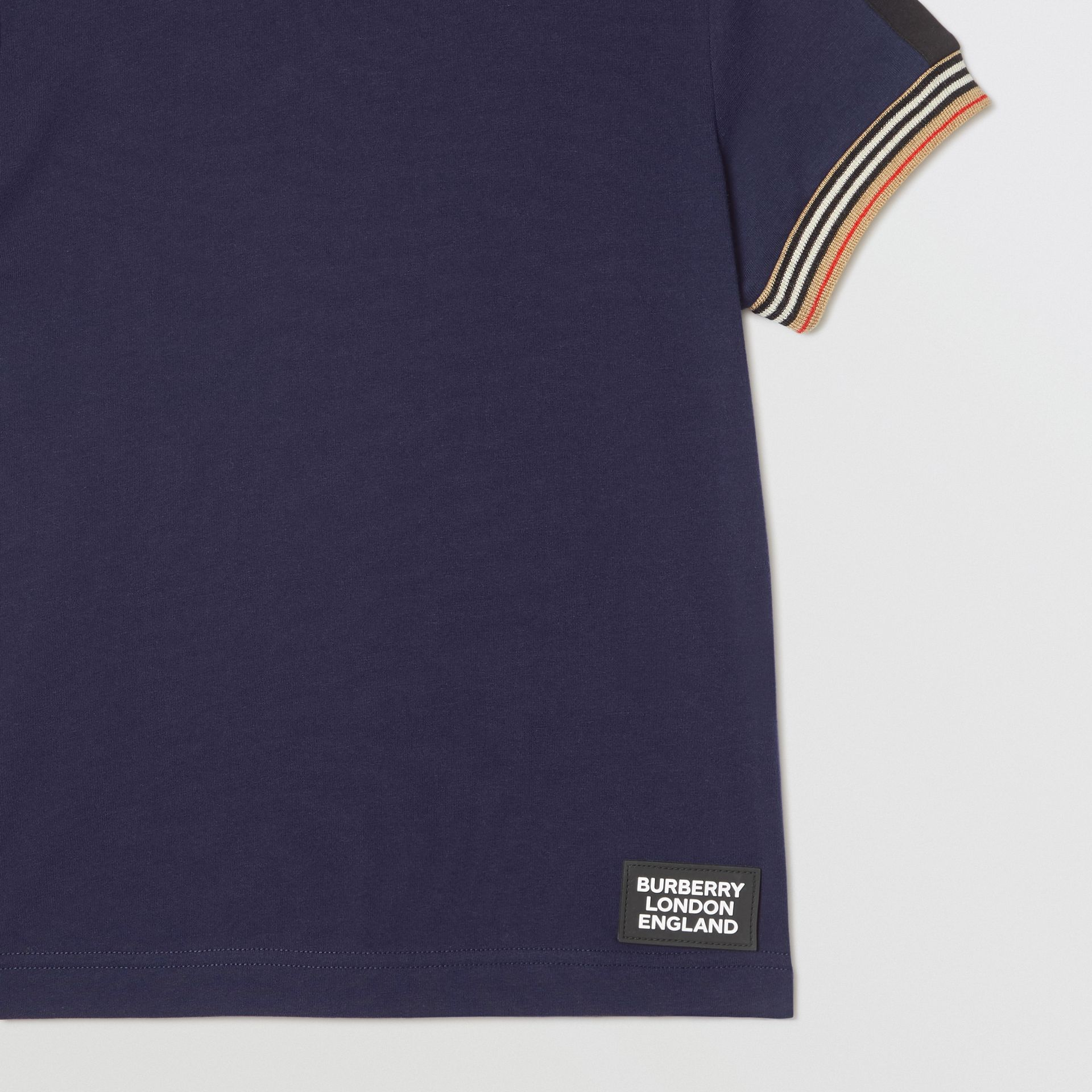 Icon Stripe Trim Cotton T-shirt in Navy | Burberry United Kingdom - gallery image 4