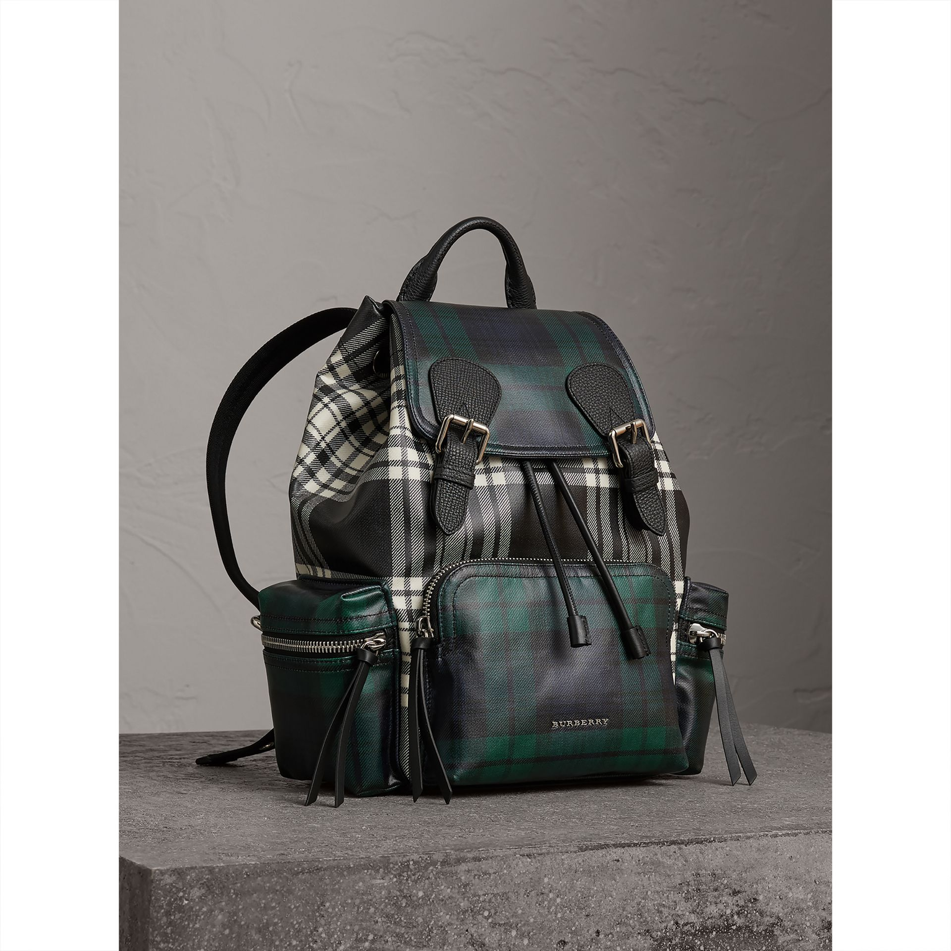 The Medium Rucksack in Laminated Tartan in Black/white - Women | Burberry United Kingdom - gallery image 0