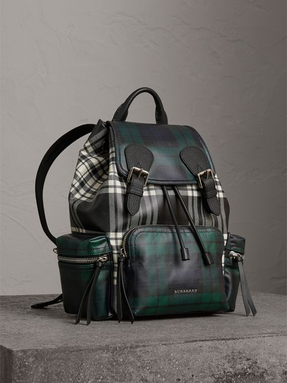 The Medium Rucksack in Laminated Tartan in Black/white