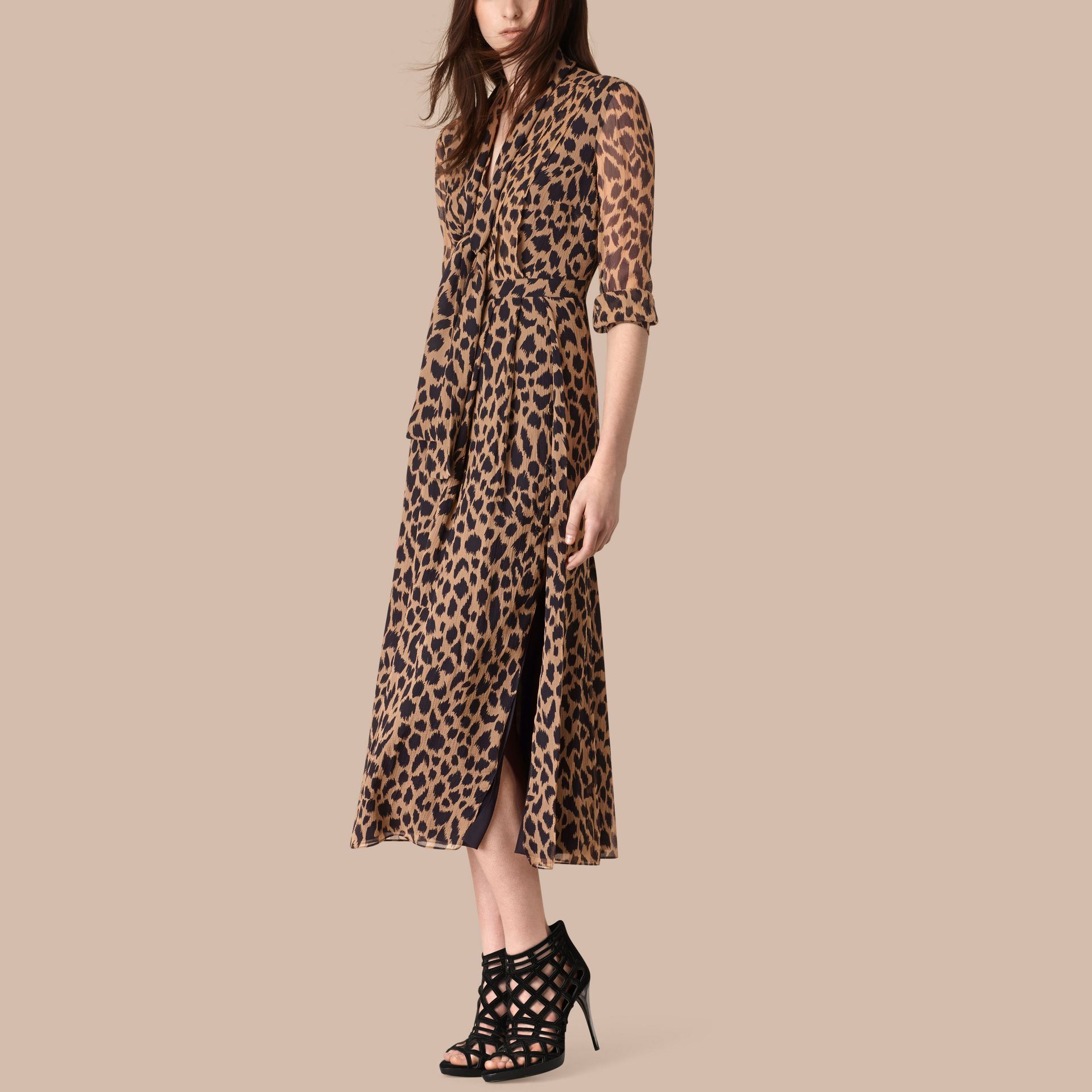Camel/black Tie Detail Animal Print Silk Dress - gallery image 1