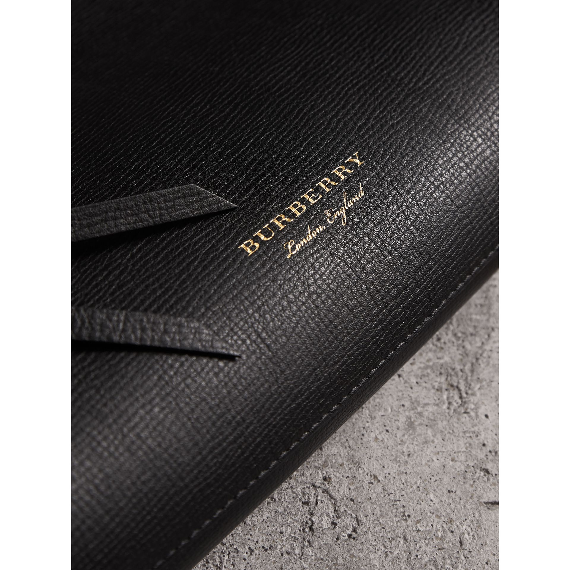Grainy Leather Clutch Bag in Black - Women | Burberry - gallery image 1