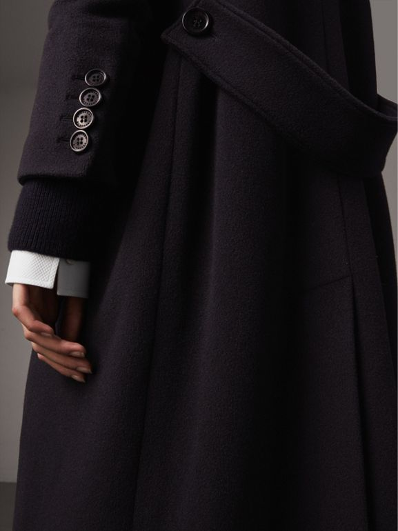 Detachable Rib Knit Collar Cashmere Coat in Navy - Women | Burberry - cell image 1