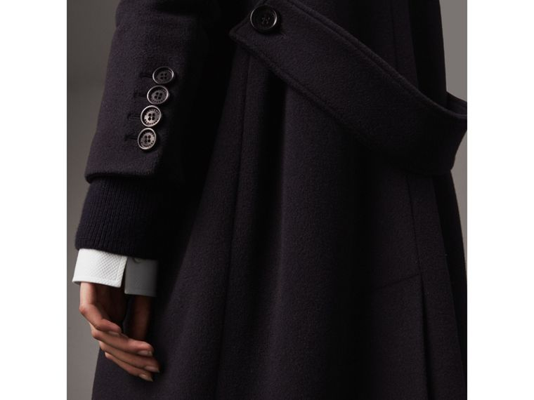 Detachable Rib Knit Collar Cashmere Coat in Navy - Women | Burberry Hong Kong - cell image 1