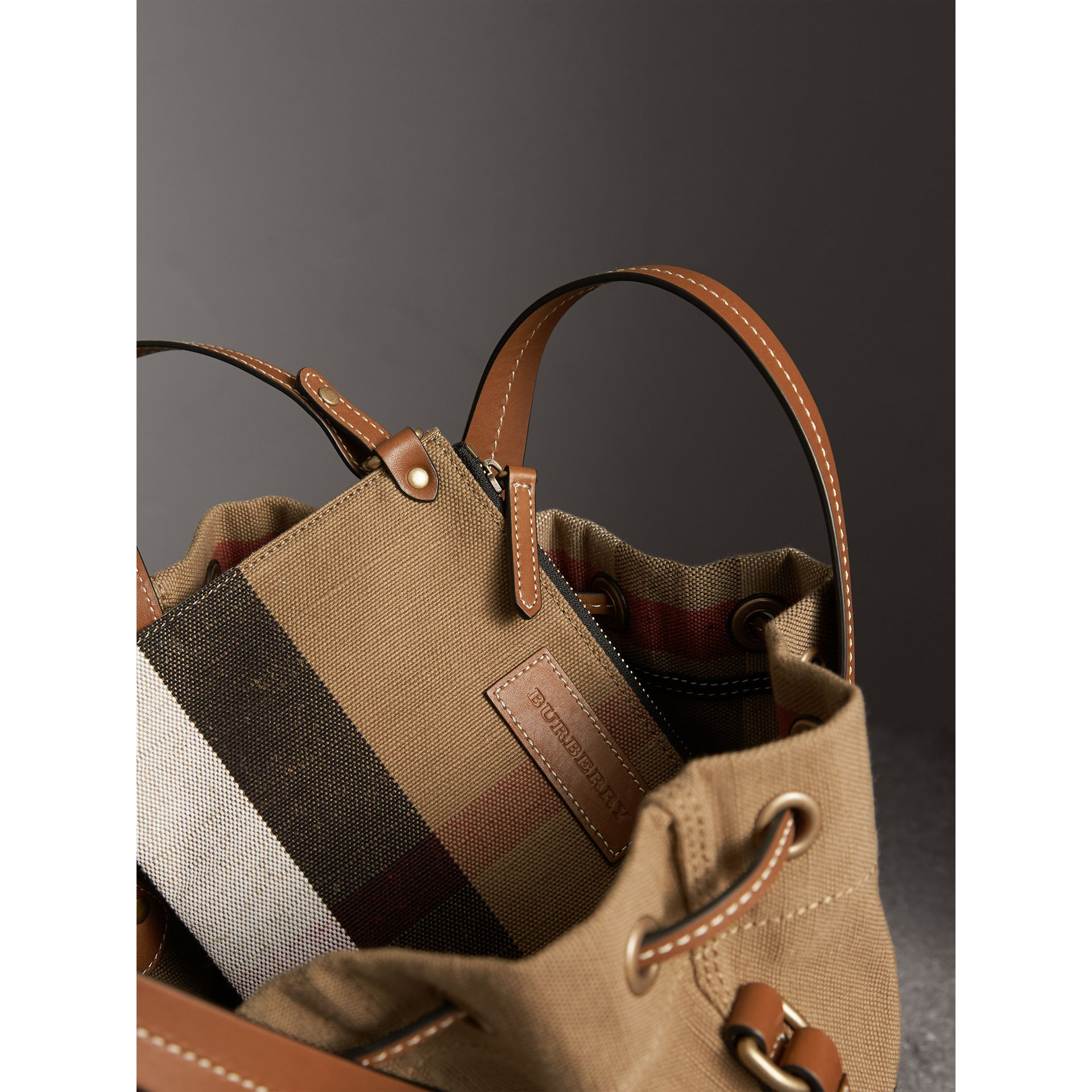Small Canvas Check and Leather Bucket Bag in Tan - Women | Burberry - gallery image 5