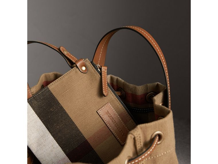 Small Canvas Check and Leather Bucket Bag in Tan - Women | Burberry - cell image 4