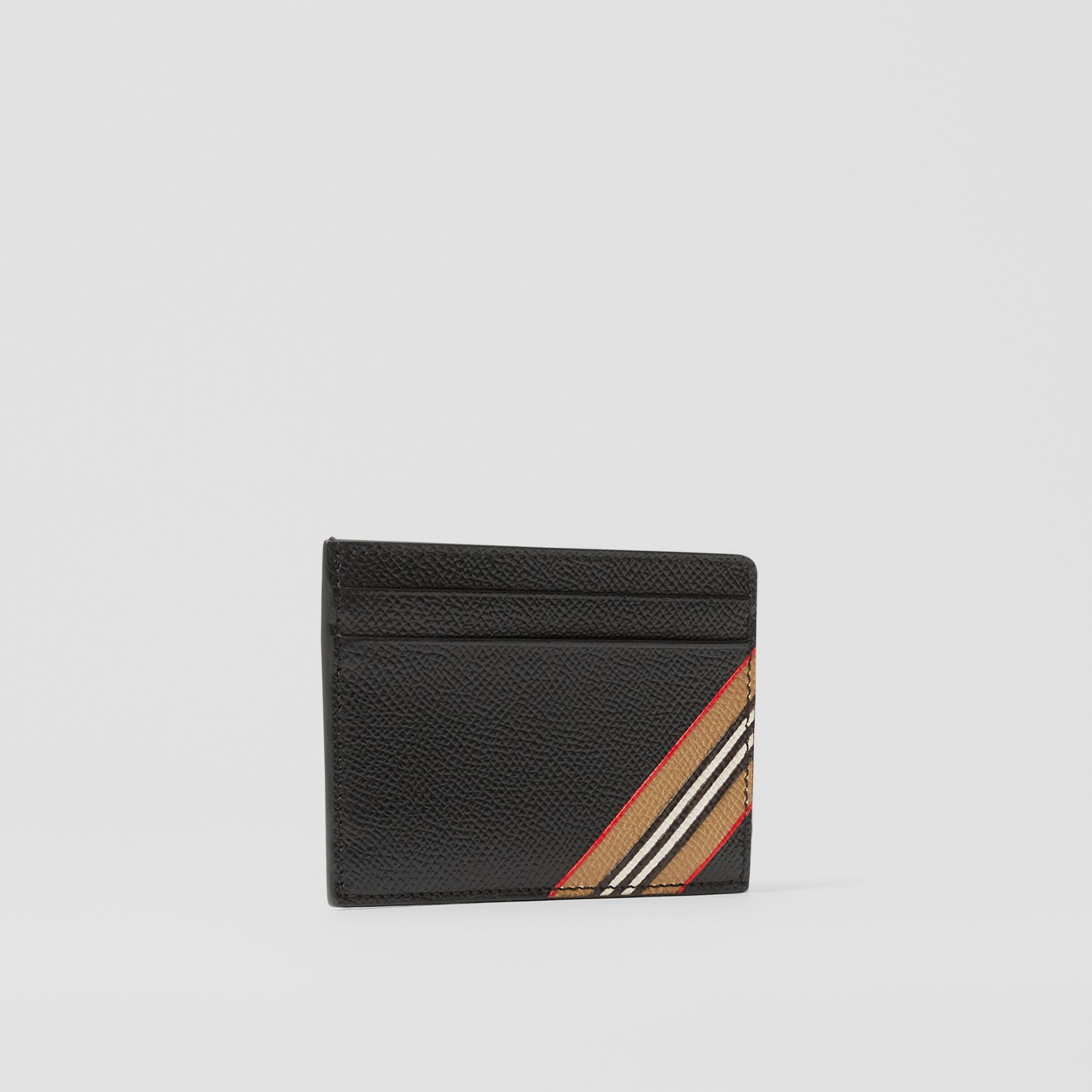 Icon Stripe Print Grainy Leather Card Case in Black - Men | Burberry - 3