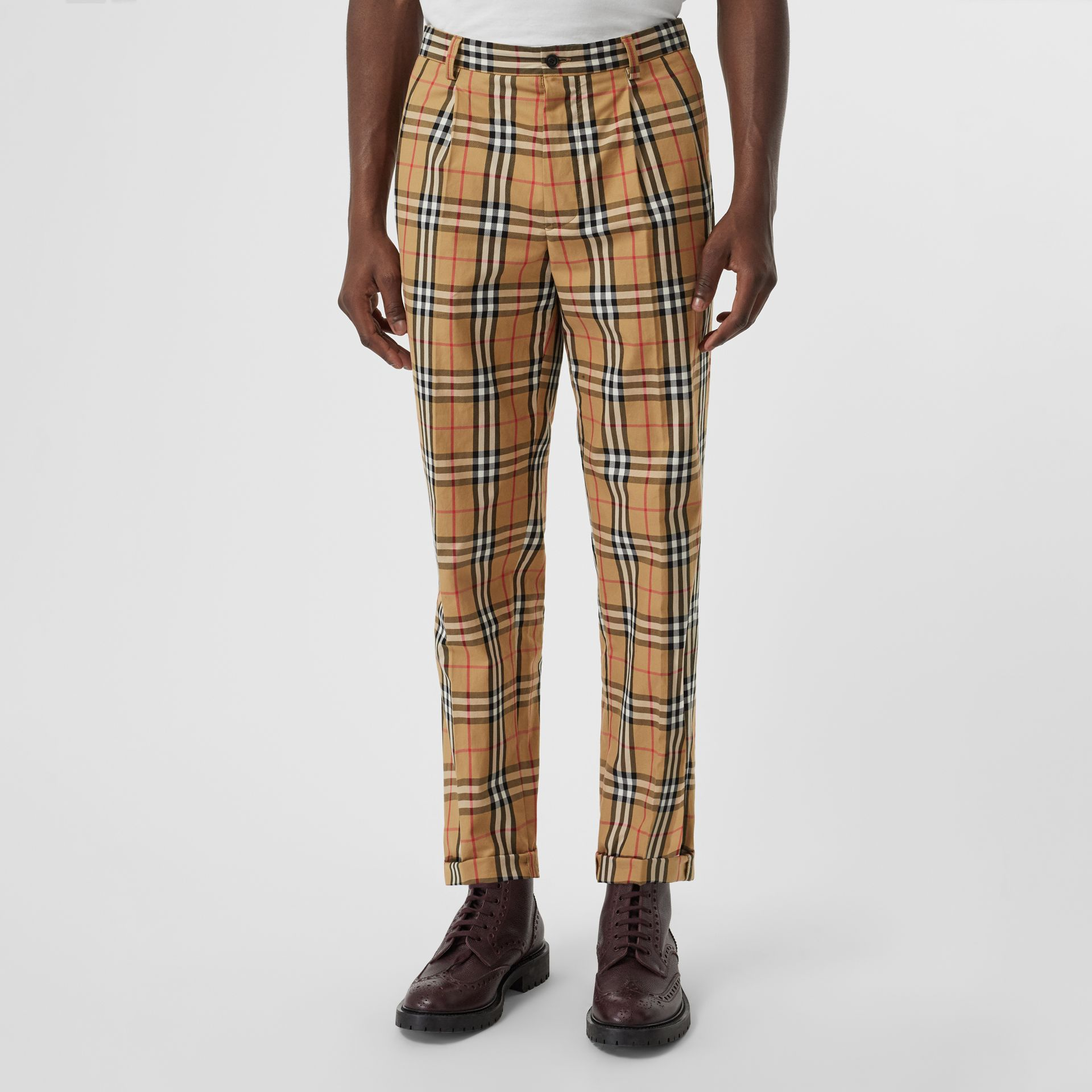 95114be5bd9601 Vintage Check Cotton Trousers in Antique Yellow - Men | Burberry United  Kingdom - gallery image