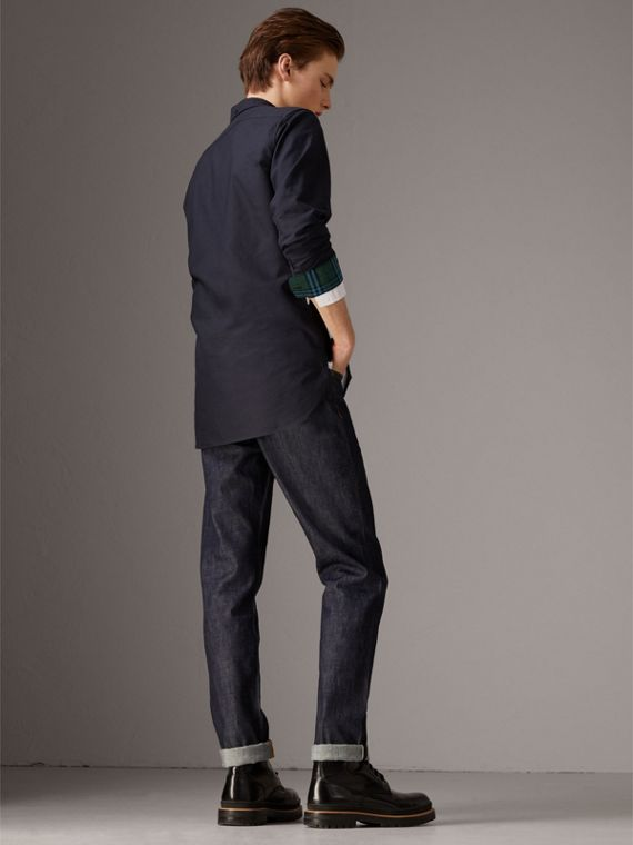 Cotton Oxford Shirt in Navy Blue - Men | Burberry - cell image 2
