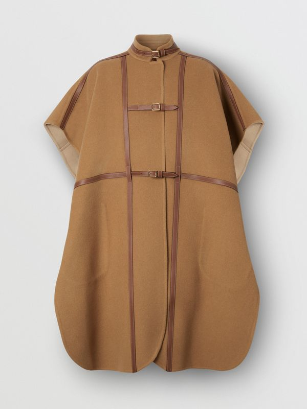 Leather Harness Detail Wool Blend Cape in Camel/honey - Women | Burberry - cell image 3