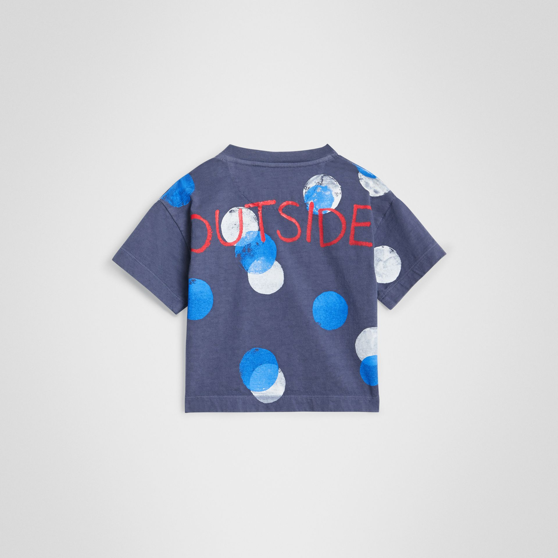 Oversized Spot Print Cotton T-shirt in Navy Melange - Children | Burberry United Kingdom - gallery image 3