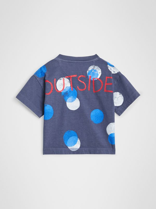 Oversized Spot Print Cotton T-shirt in Navy Melange - Children | Burberry - cell image 3