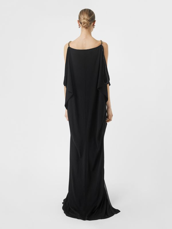 Crystal and Chain Detail Stretch Jersey Gown in Black - Women | Burberry - cell image 2