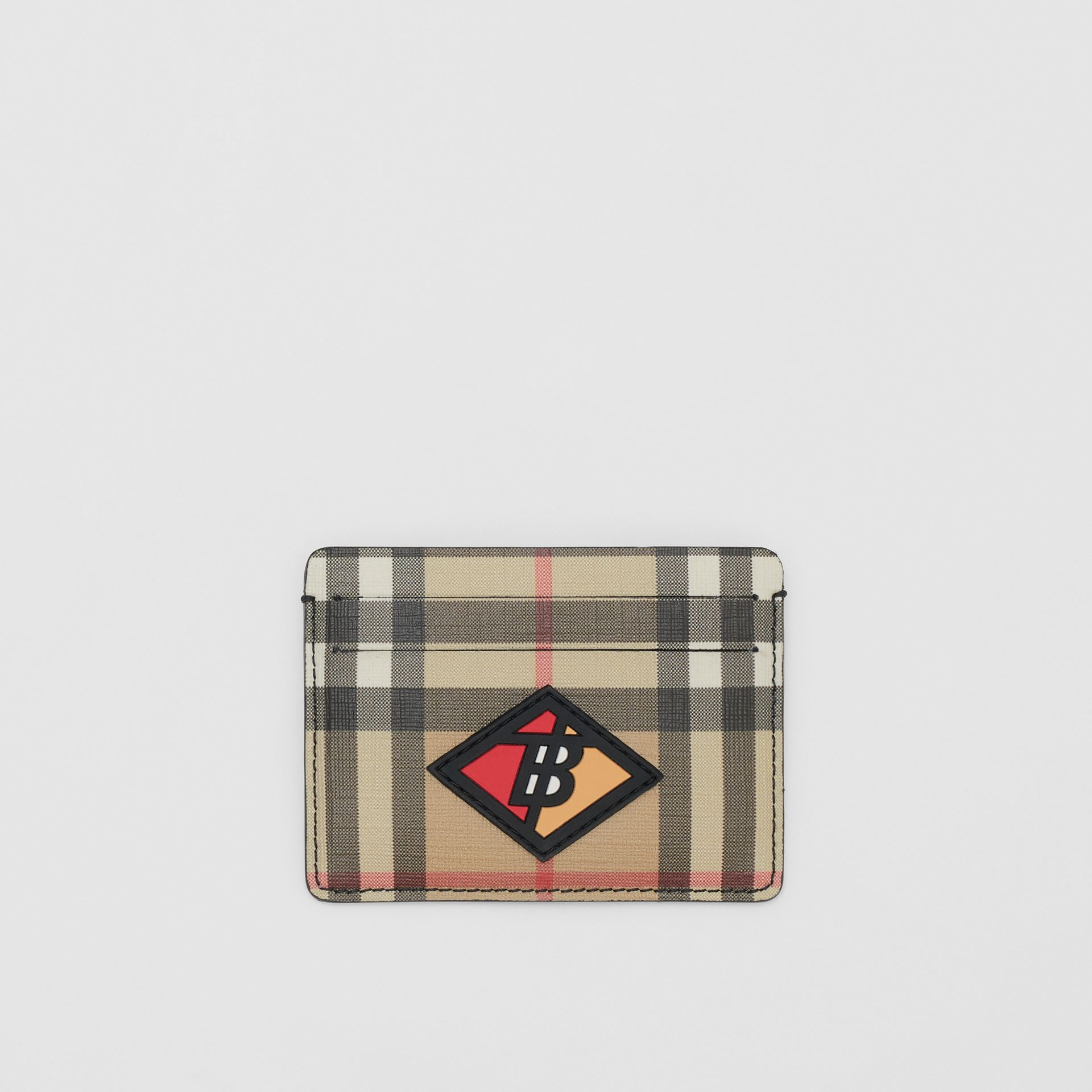 Logo Graphic Vintage Check E-canvas Card Case in Archive Beige | Burberry - gallery image 0