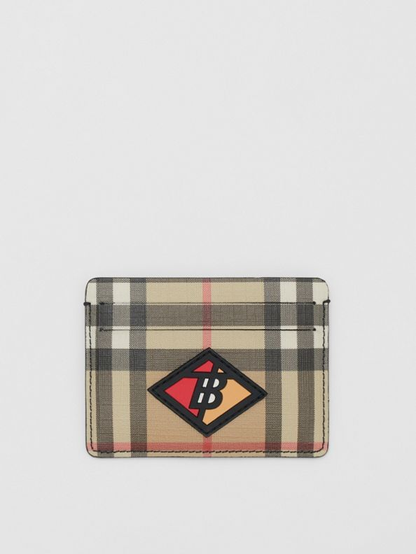 Logo Graphic Vintage Check E-canvas Card Case in Archive Beige