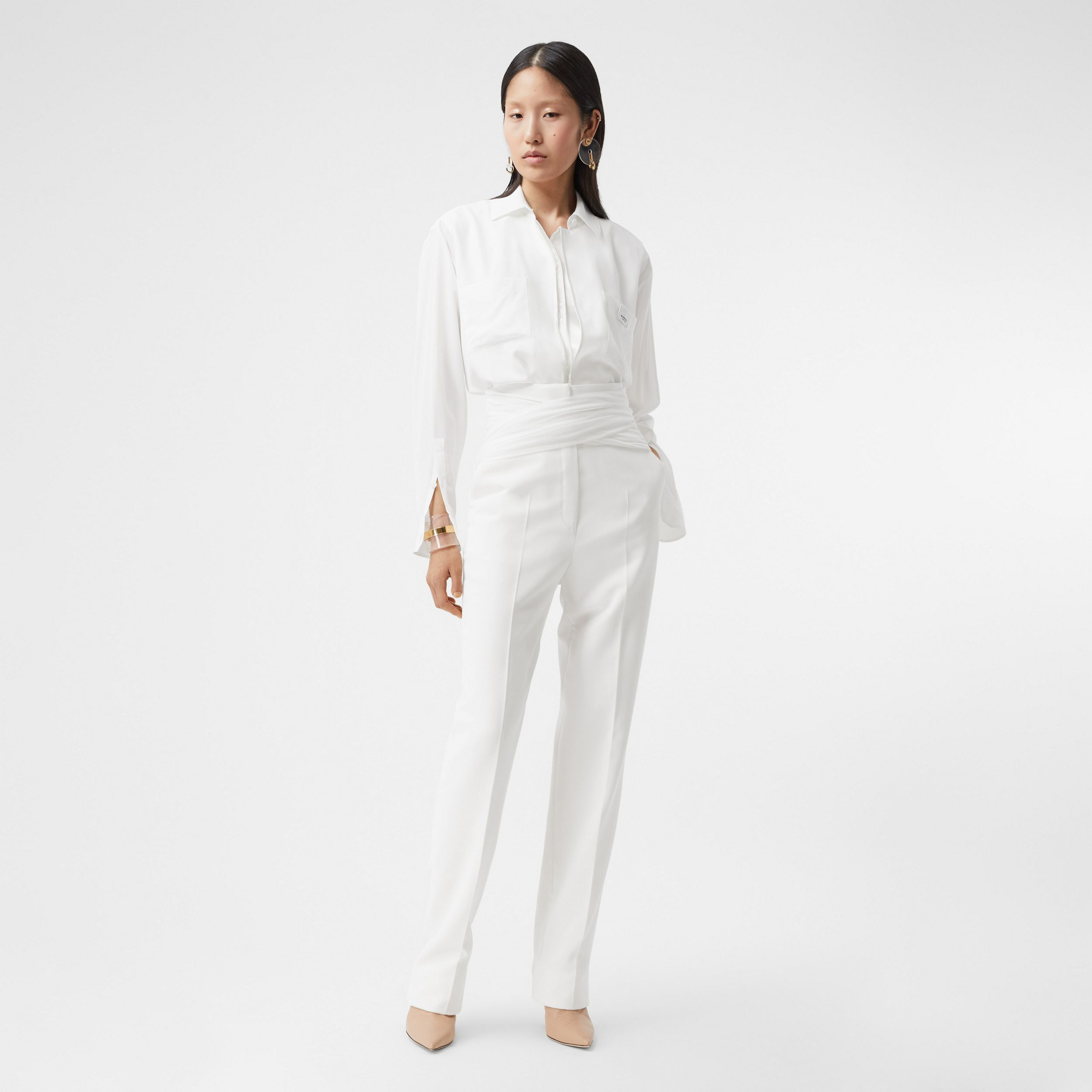 Sash Detail Technical Wool Tailored Trousers in Optic White - Women | Burberry Singapore - 1
