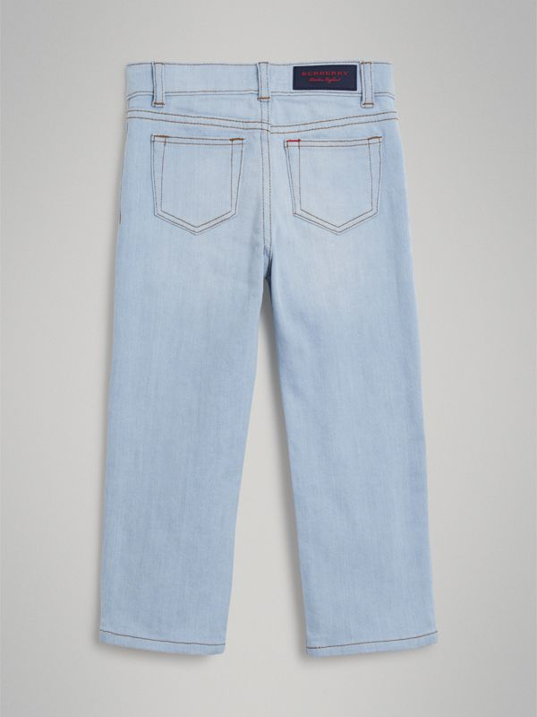 Relaxed Fit Stretch Denim Jeans in Light Blue - Boy | Burberry Hong Kong - cell image 3