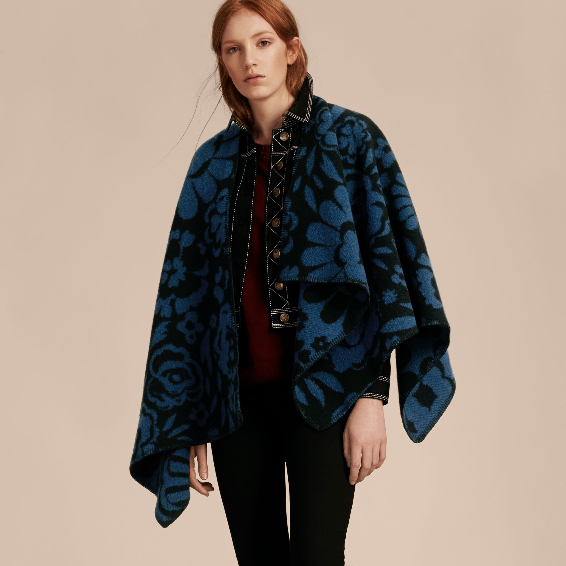 Marine blue Floral Jacquard Wool Cashmere Poncho - gallery image 6