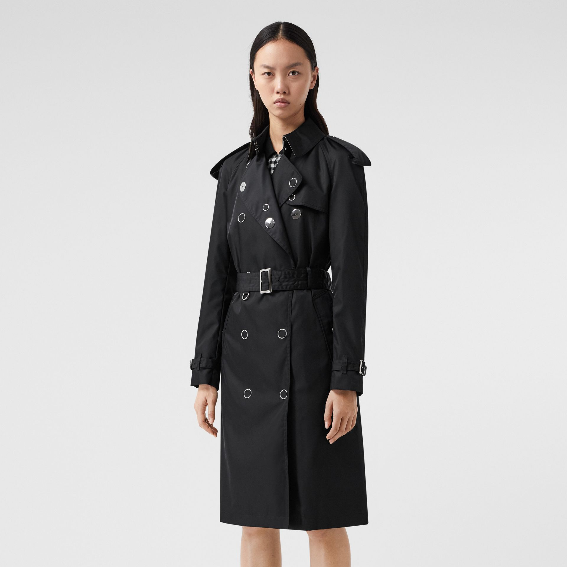 Press-stud Detail ECONYL® Trench Coat in Black - Women | Burberry Canada - gallery image 0