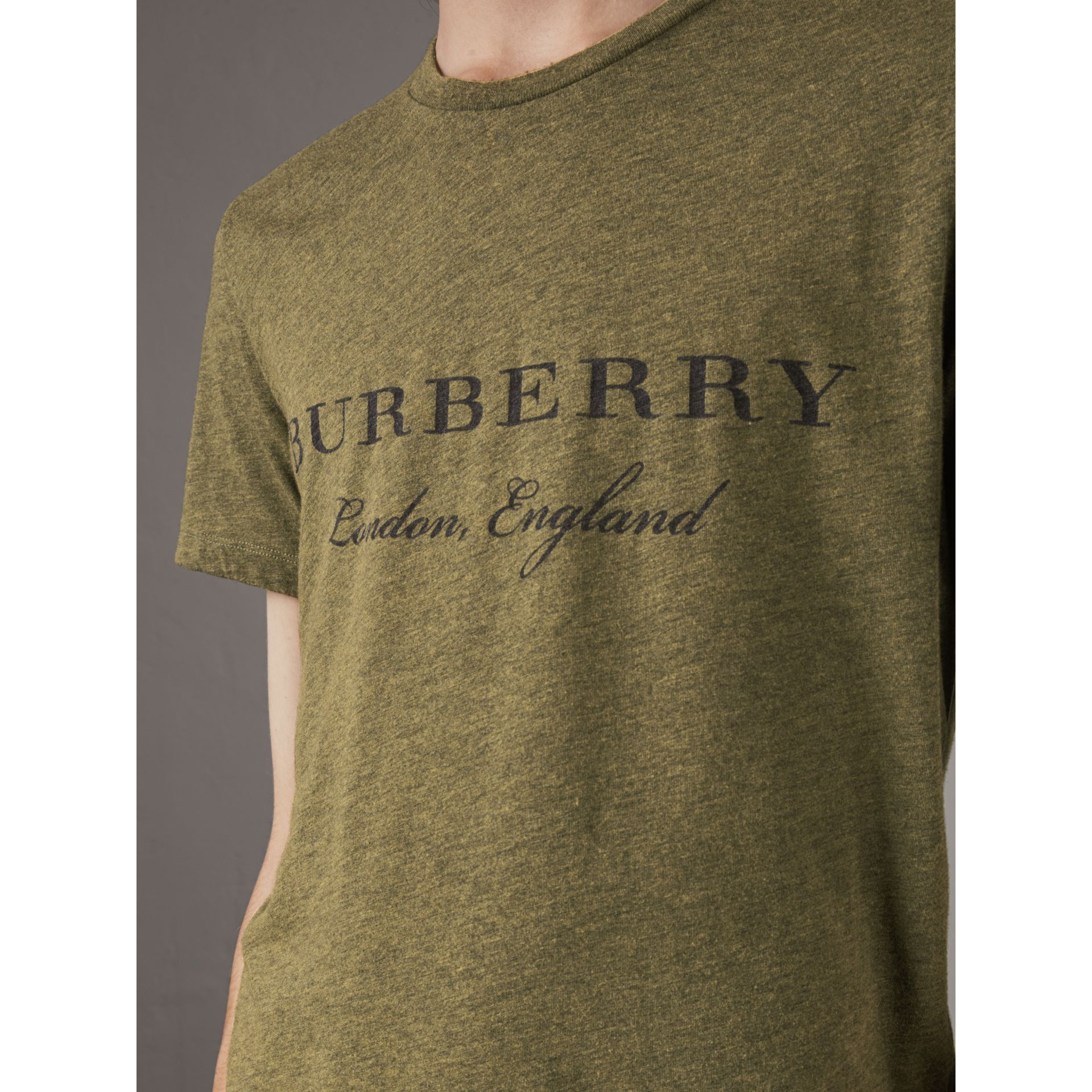 Devoré Cotton Jersey T-shirt in Olive Melange - Men | Burberry - gallery image 2