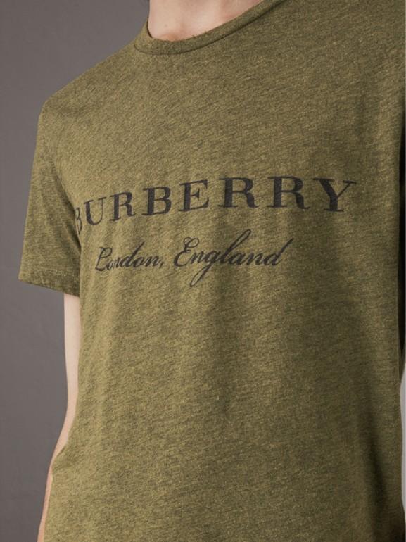 Devoré Cotton Jersey T-shirt in Olive Melange - Men | Burberry - cell image 1