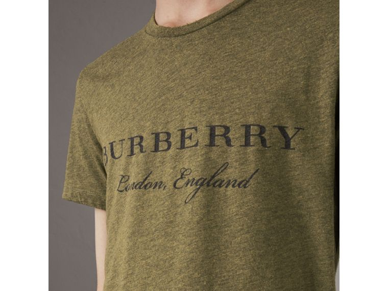 Devoré Cotton Jersey T-shirt in Olive Melange - Men | Burberry - cell image 1