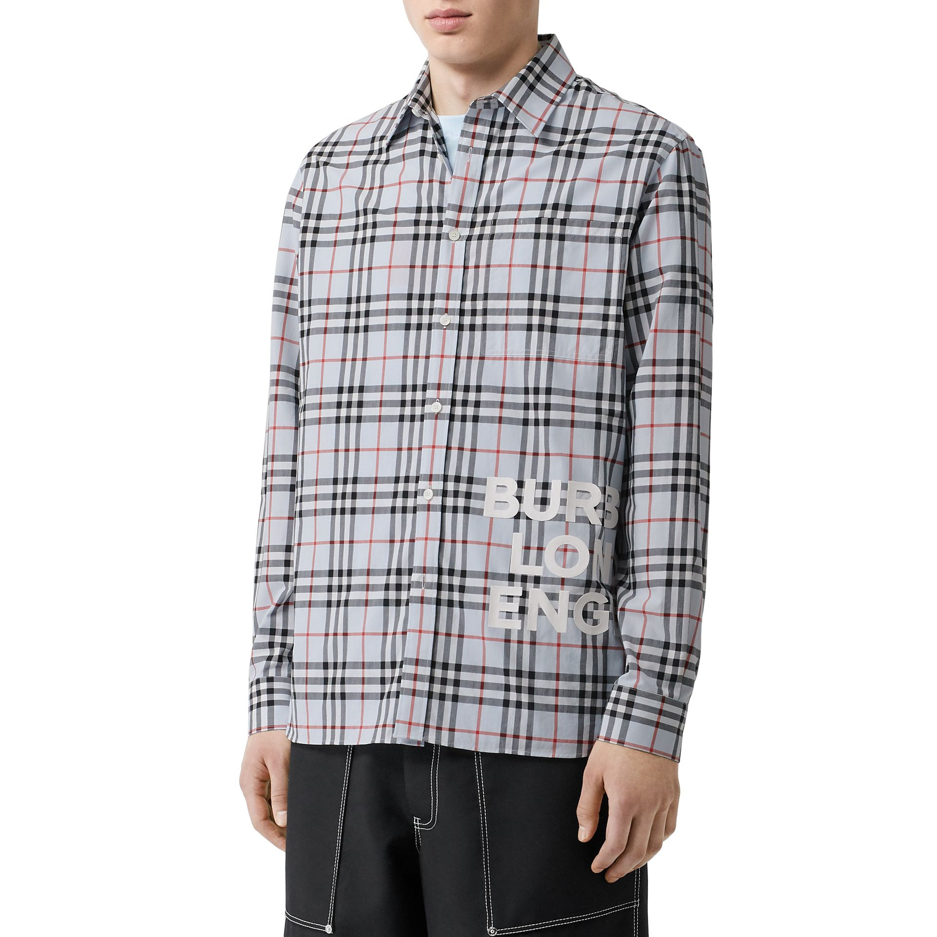 Logo Print Check Cotton Oversized Shirt in Pale Blue - Men | Burberry - gallery image 7