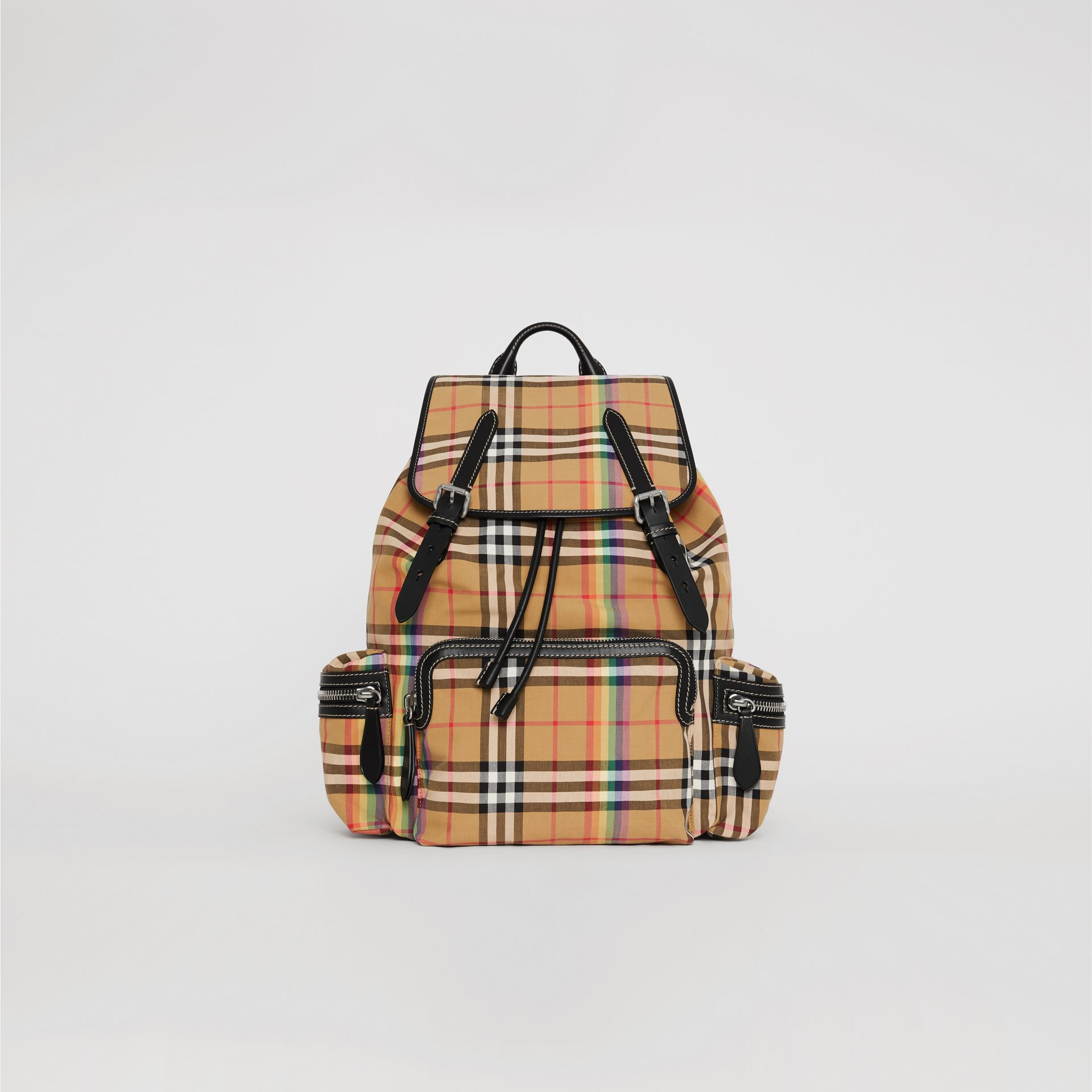 The Large Rucksack in Rainbow Vintage Check in Antique Yellow | Burberry - gallery image 0