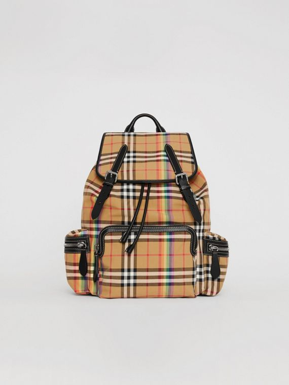 Grand sac The Rucksack à motif Rainbow Vintage check (Jaune Antique)