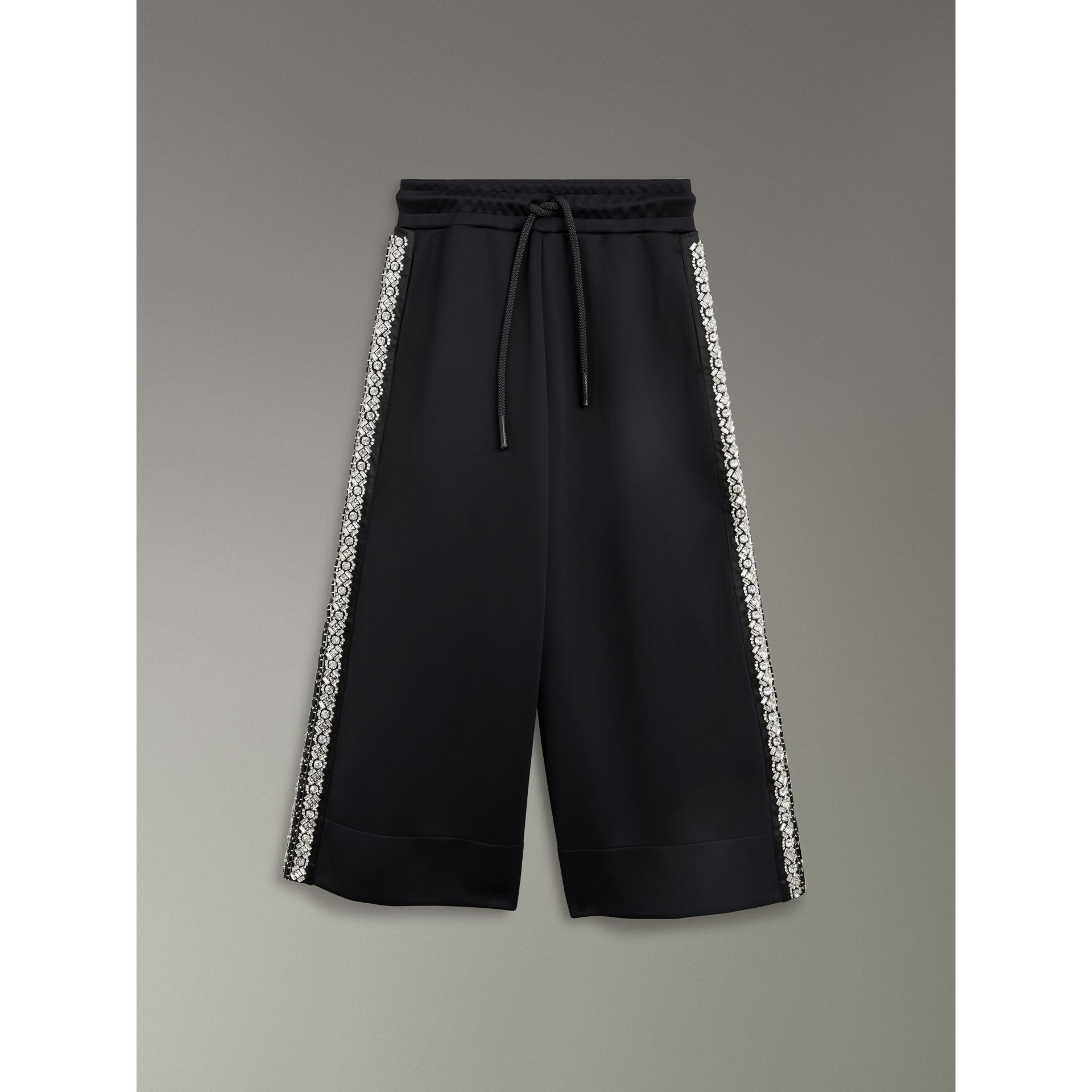 Crystal Detail Wide-leg Jersey Cropped Track Pants in Black - Women | Burberry Australia - gallery image 3