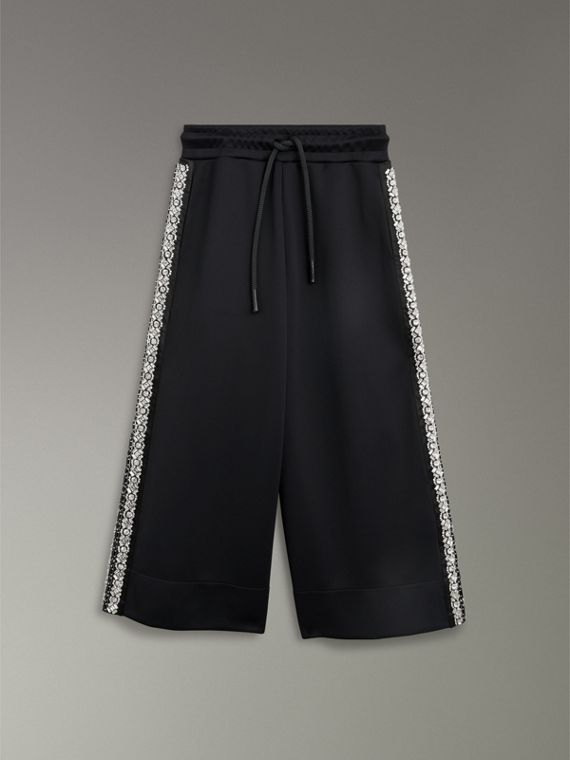 Crystal Detail Wide-leg Jersey Cropped Track Pants in Black - Women | Burberry - cell image 3
