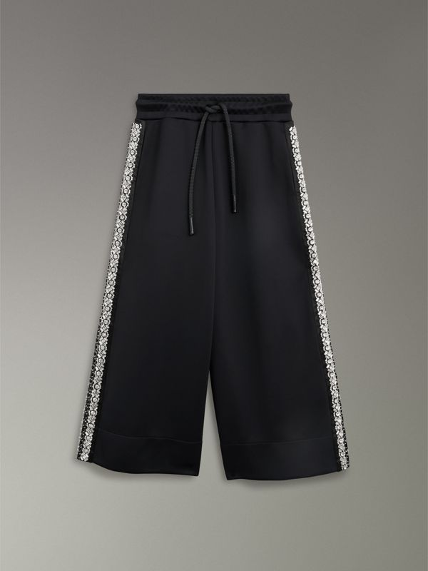 Crystal Detail Wide-leg Jersey Cropped Track Pants in Black - Women | Burberry Australia - cell image 3