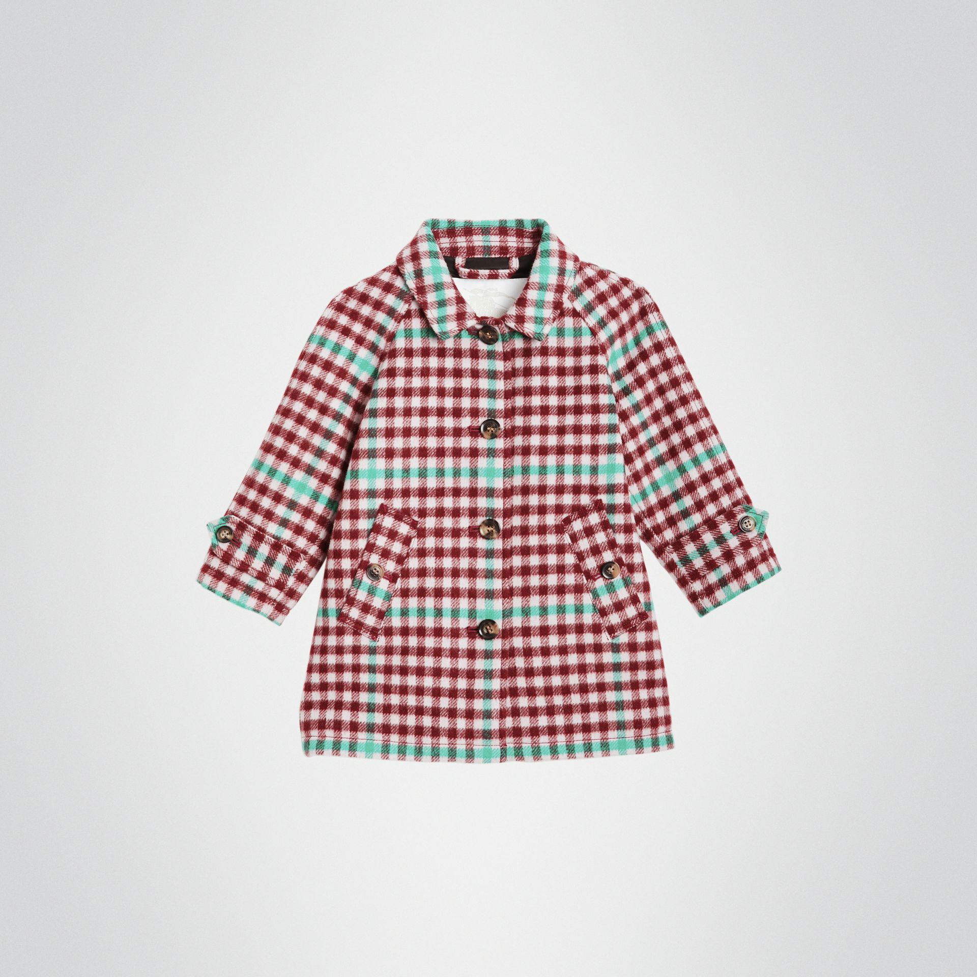Check Wool Car Coat in Garnet Pink - Children | Burberry - gallery image 0