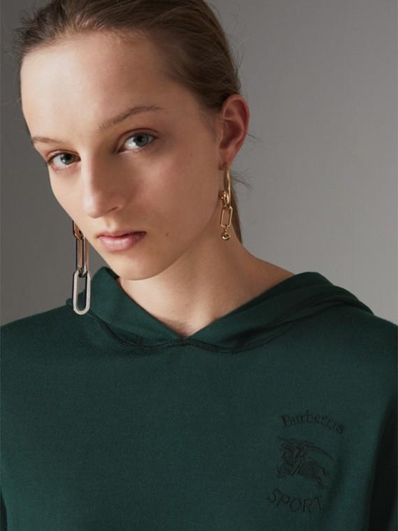 刺繡絲綢與喀什米爾混紡連帽衫 (顏料綠)