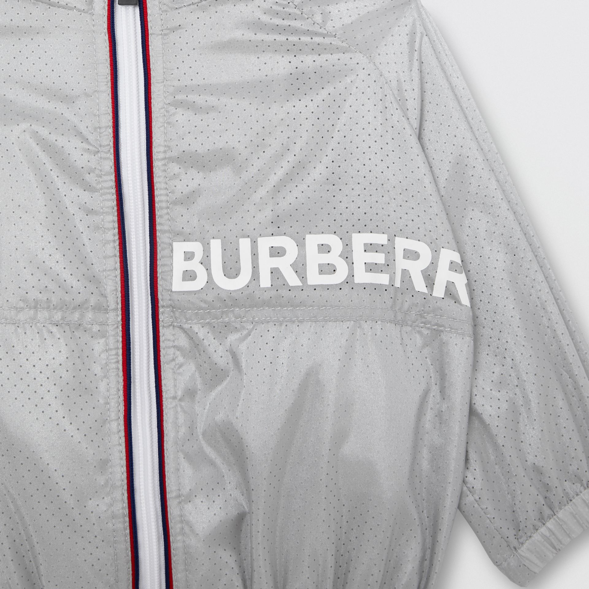 Logo Print Perforated Hooded Jacket in Silver - Children | Burberry - gallery image 5